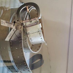 White House Black Market  silver belt